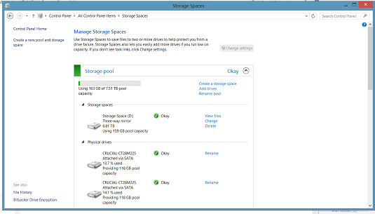 Windows 8 Storage Spaces interface