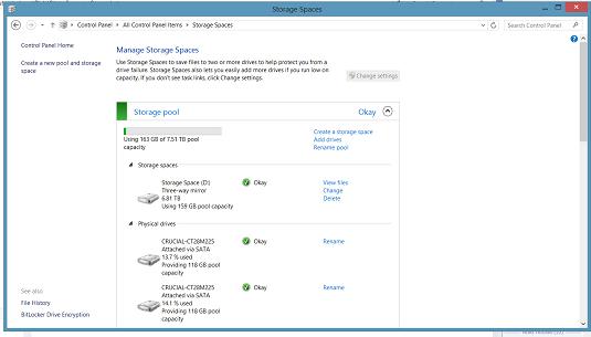 Windows 8 Storage Spaces interface